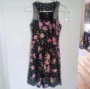 Mesh Panel Floral Sleeveless Racerback Dress